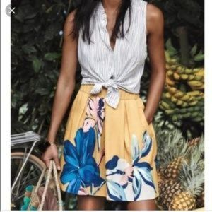 Anthropologie Maeve Tropicale Skirt Floral Size 6